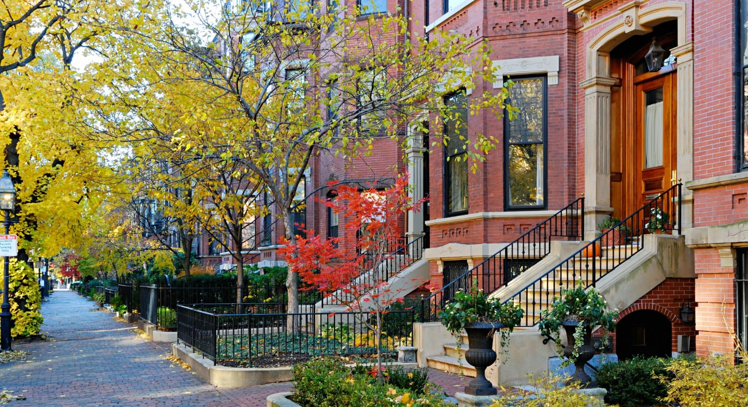 Row of red brick brownstones with black iron fences and autumn yellow trees