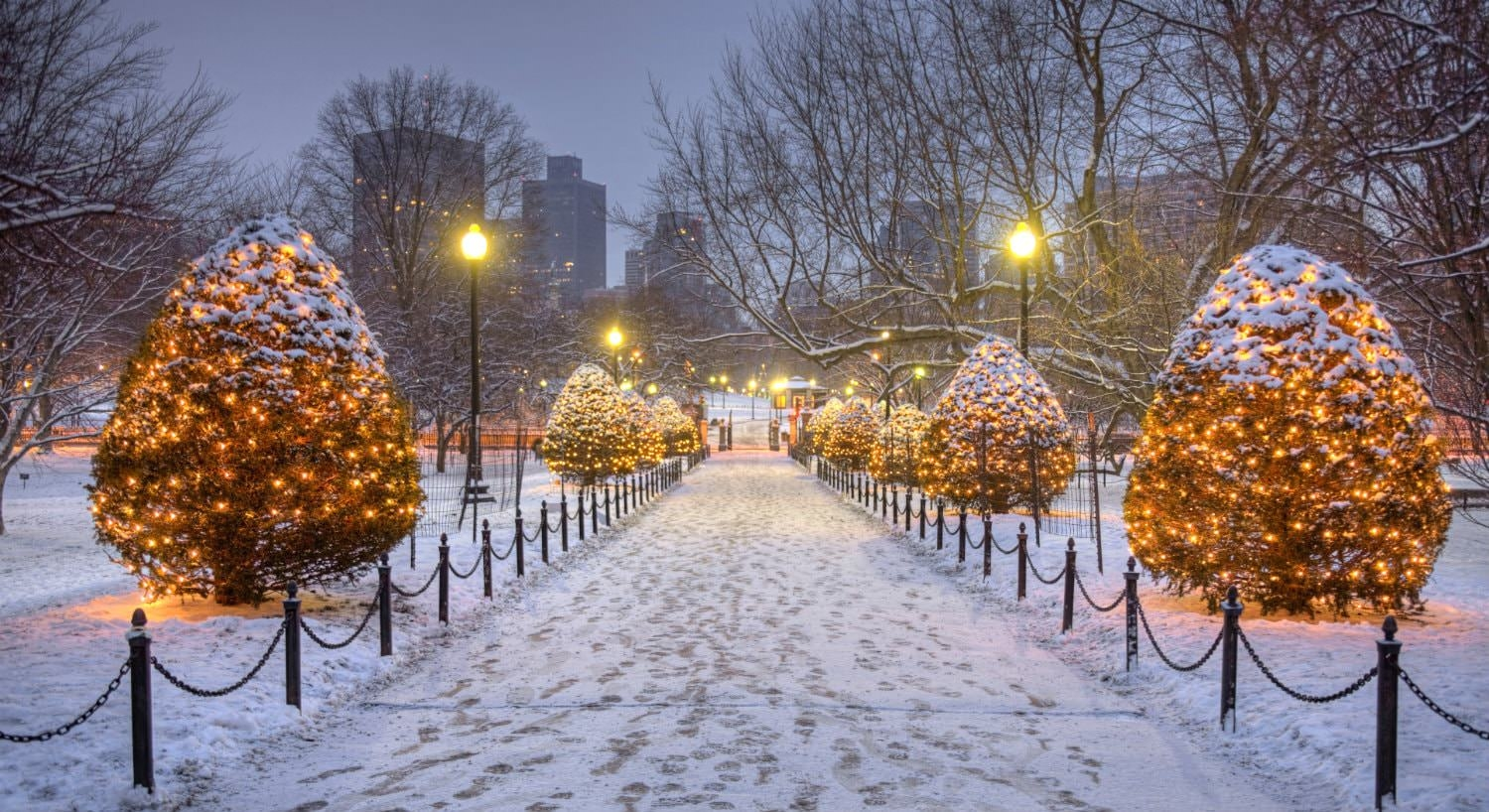 Snowy walkway through a park lined with brightly lit lamp posts and trees covered in white lights and glimpse of city in background