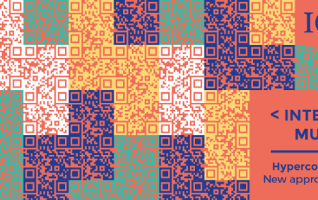 A quilt of purple, orange, green and white QR codes with a red grid like pattern on top
