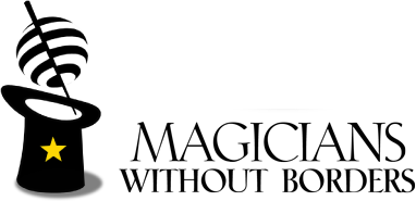 magicians without border words with black top hat with yellow star