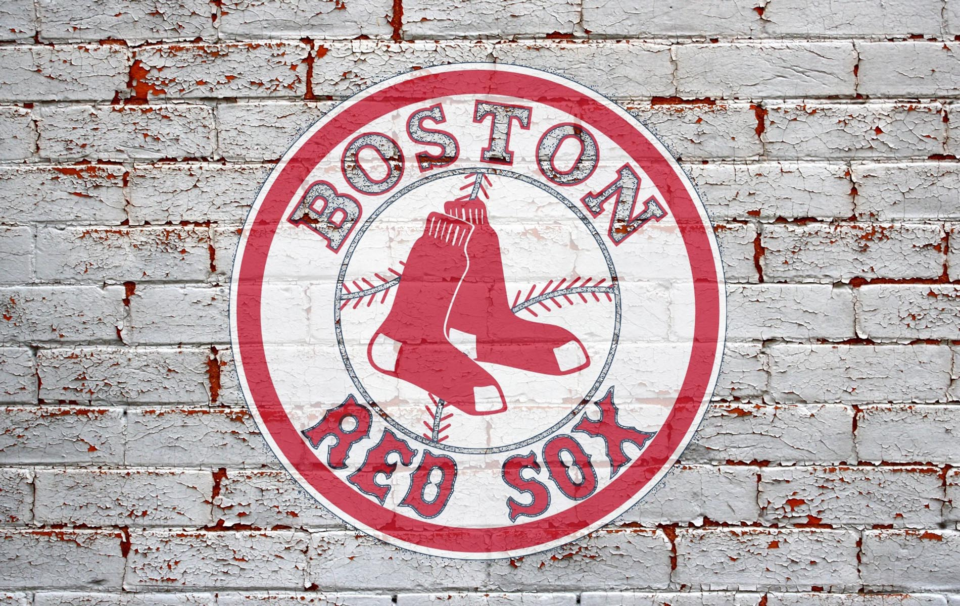 white brick background with red sox logo of two red sox in circle