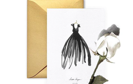 white rose and card with black dress illustration