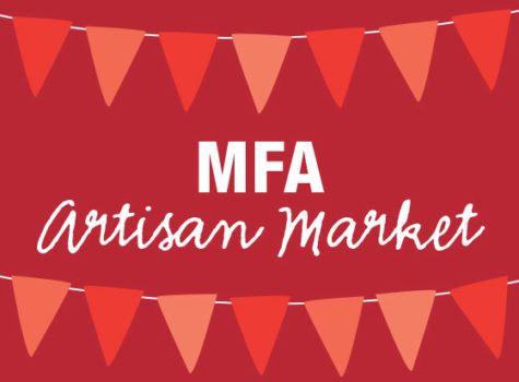 a red sign say MFA artisan market with 2 multi color red banner triangles