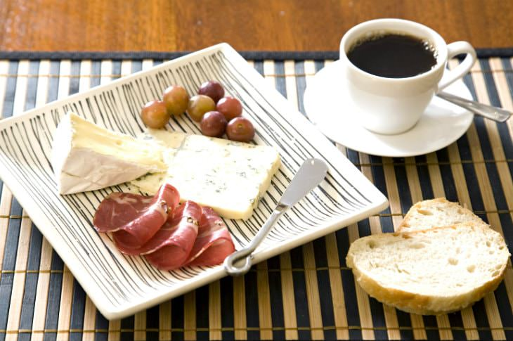 Square white plate of grapes, gourmet cheese and prosciutto next to a slice of bread and cup of coffee