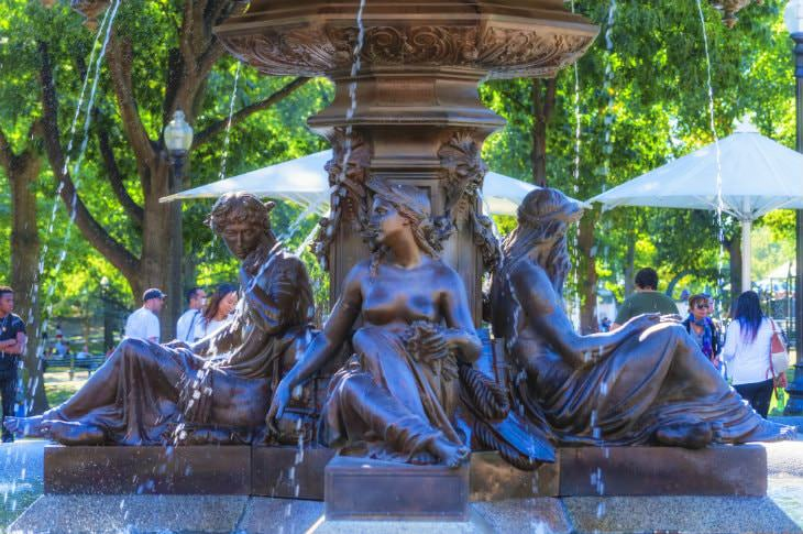 Close-up view of bronze fountain detailing four women around the base with green trees in the background