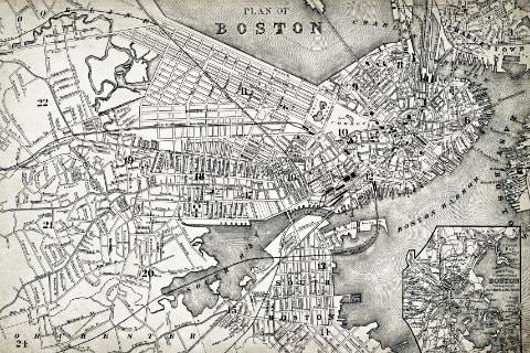 Close-up view of historical, black and white map of Boston
